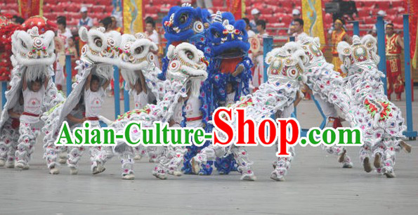 White 2008 Beijing Olympic Games Opening Ceremony 100_ Natural Long Wool Lion Dance Equipments Complete Set