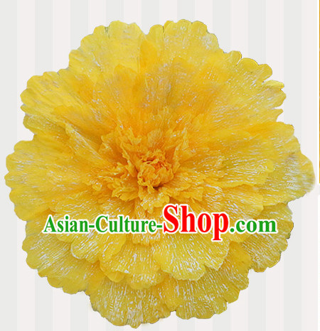 Yellow Traditional Dance Peony Umbrella Props Flower Umbrellas Dancing Prop Decorations for Kids Children Girls Boys