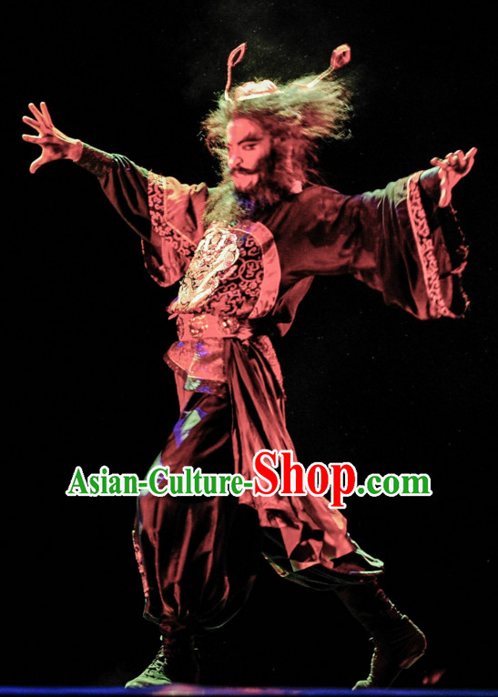 Chinese Classical Zhong Kui Dancing Dance Costumes Complete Set for Men