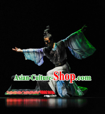 Chinese Classical Qu Yuan Poet Dancing Dance Costumes Complete Set for Men
