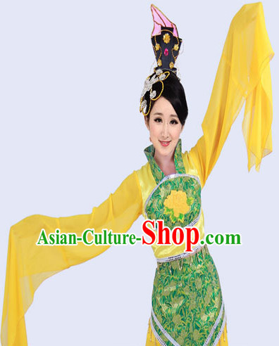 Ancient Yellow Long Sleeve Beauty Dance Costume and Hair Accessories Complete Set