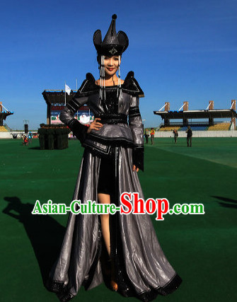 Traditional Mongolian Clothing Ancient Ethnic Clothes and Hat Complete Set for Women