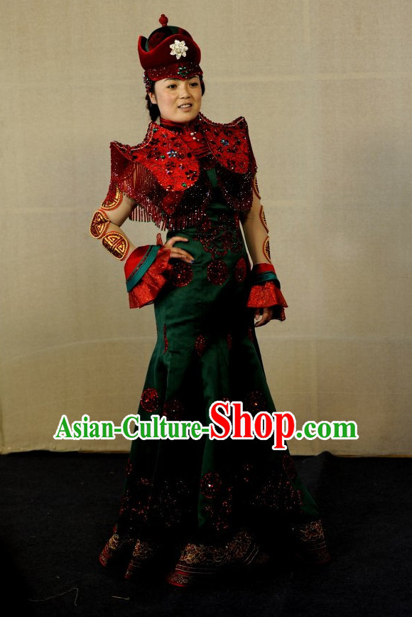 Traditional Mongolian Clothing Ancient Ethnic Queen Dresses and Hat Complete Set for Women