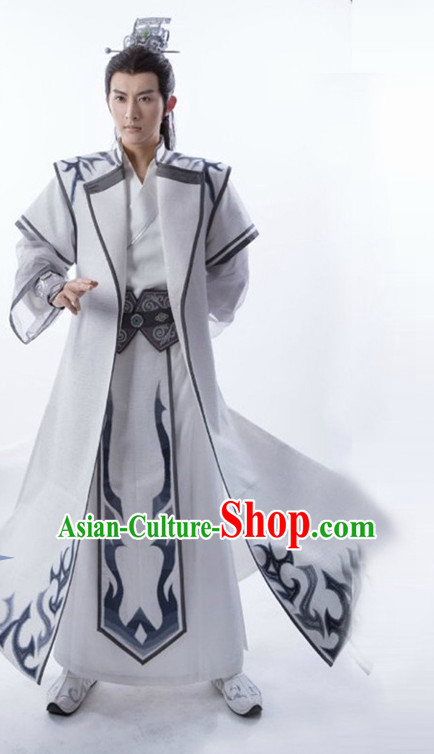 Chinese Ancient Prince Men's Clothing _ Apparel Chinese Traditional Dress Theater and Reenactment Costumes and Headwear Complete Set