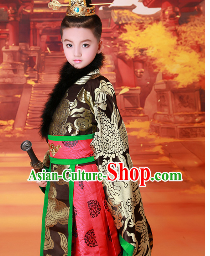 Ancient Chinese Prince Dress Emperor Costumes Dragon Robe and Hat Crown Complete Set for Men