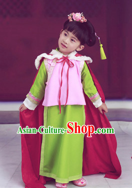 Traditional Chinese Stage Dancing Costume Chinese Classical Dance Costumes and Headpieces Complete Set for Kids
