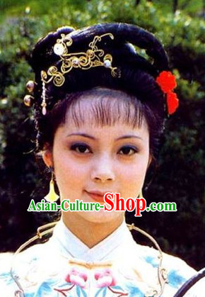 Chinese Ming Dynasty Red Chamber TV Drama Xue Baochai Black Long Wigs and Headwear Headgear Hair Jewelry Hairpieces Set