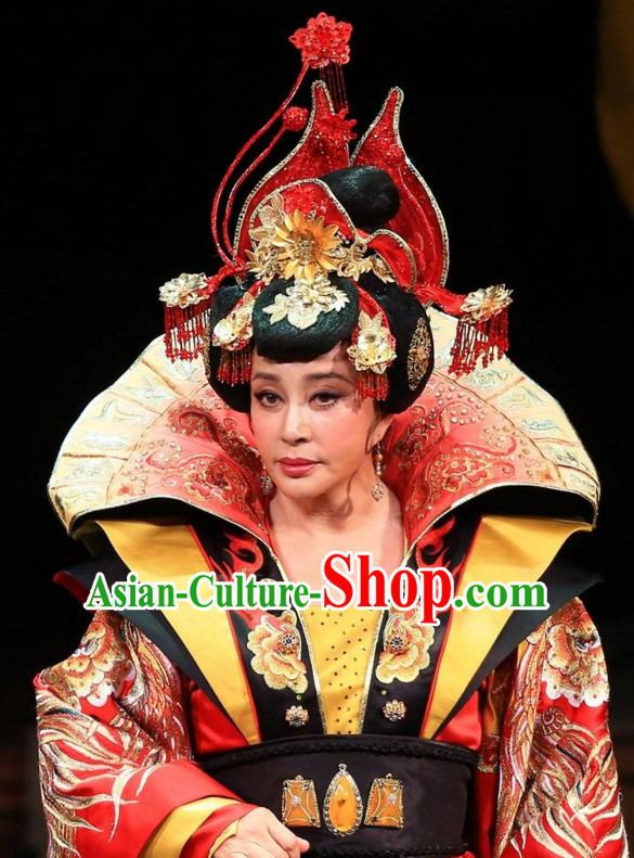 China Ancient Tang Dynasty Palace Black Wigs Headdress Hair Jewelry Set