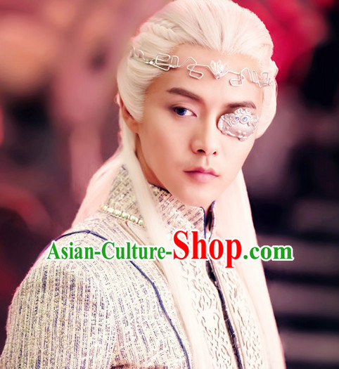 Chinese Ancient Male Long White Wigs