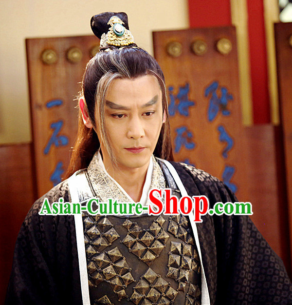 Chinese Ancient Kung Fu Male Long Wigs and Coronet