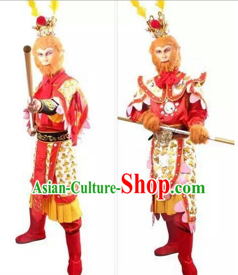 Chinese Sun Wukong Armor Hanfu Dress Gown Costumes Ancient Costume Clothing Complete Set