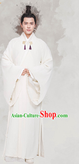 Chinese Ancient Scholar White Hanfu Clothing Garment Complete Set for Men