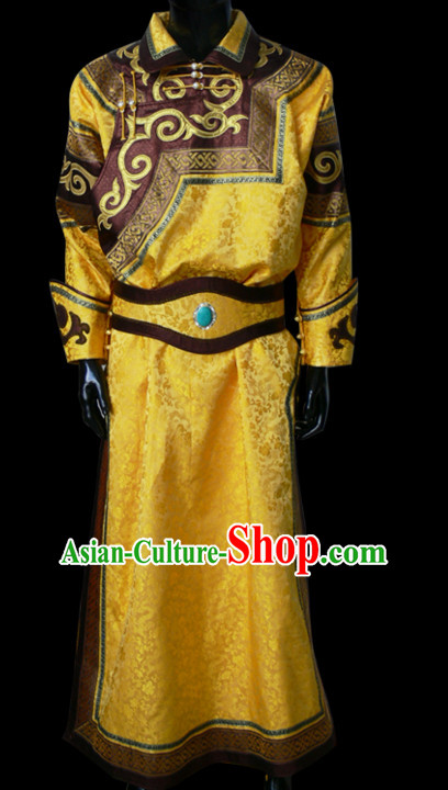 Chinese Yellow Mongolian Minority Emperor Mongol Long Robe Mongolia Prince Clothing Ethnic Traditional Costumes Complete Set