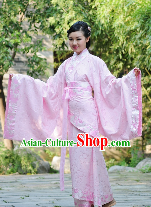 Pink Ancient Chinese Han Dynasty Dresses Hanfu Wedding Dress Hanbok Kimono Complete Set for Women