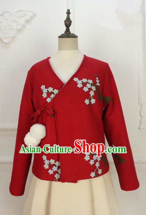 Traditional Classic Women Clothing, Traditional Chinese Classic Hanfu Woolen Coat, Han Dynasty Short Embroidered Coat for Women