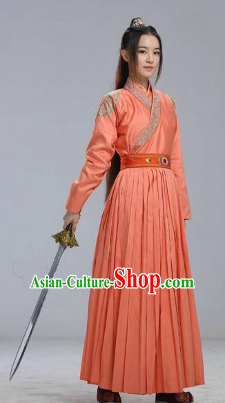 Traditional Chinese Ancient Heroine Costumes, Ancient Chinese Cosplay Swordswomen Knight Costume Complete Set for Women