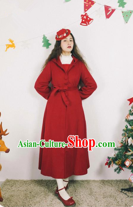 Traditional Classic Elegant Women Costume Palace Woolen Dust Coat, Restoring Ancient Princess Wool Hooded Long Coat for Women
