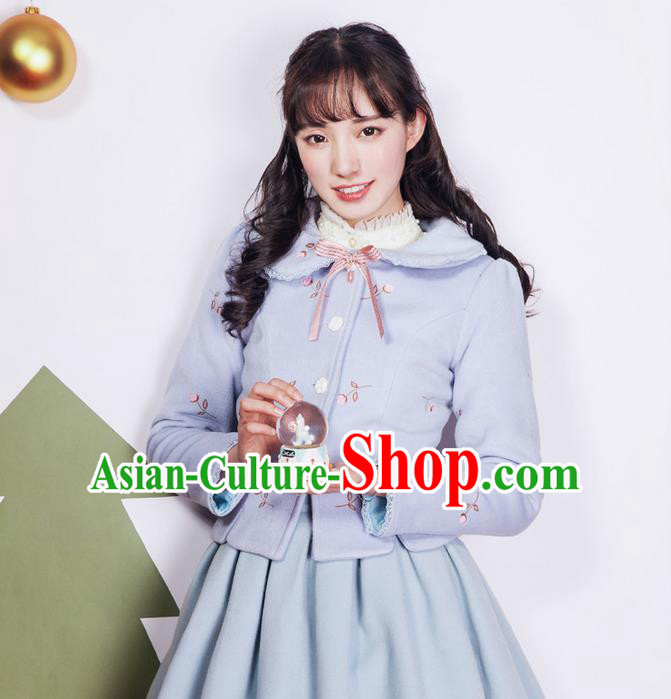 Traditional Classic Elegant Women Costume Palace Woolen Jacket, Restoring Ancient Princess Wool Sweet Short Coat for Women