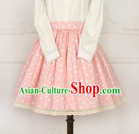 Traditional Japanese Restoring Ancient Kimono Costume Bust Skirt, China Modified Short Sweet Lace Skirt for Women
