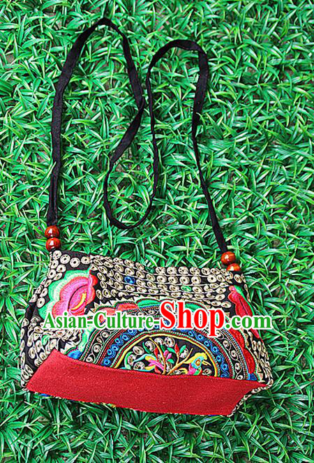Traditional Chinese Miao Nationality Palace Handmade Embroidery Peony Handbag Hmong Handmade Embroidery Canvas Messenger Bags for Women