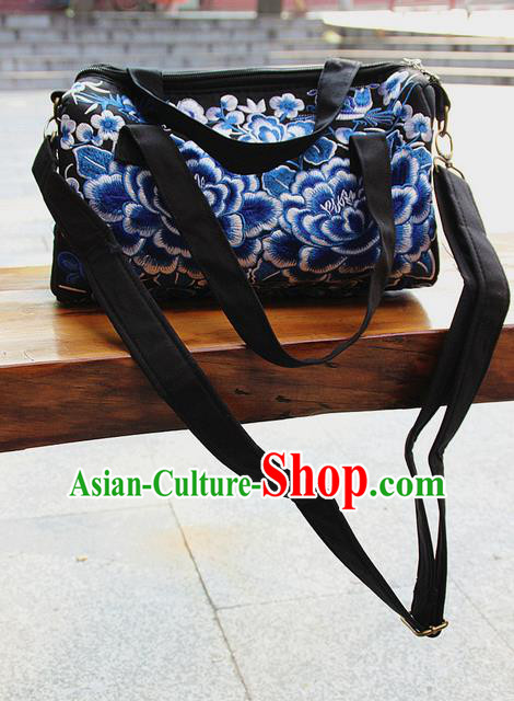 Traditional Chinese Miao Nationality Palace Handmade Four-Sided Embroidery Peony Handbag Hmong Handmade Embroidery Canvas Messenger Bags for Women