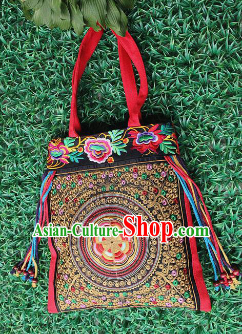 Traditional Chinese Miao Nationality Palace Handmade Single-Sided Embroidery Butterfly Peony Handbag Hmong Handmade Embroidery Canvas Single Shoulder Bags for Women