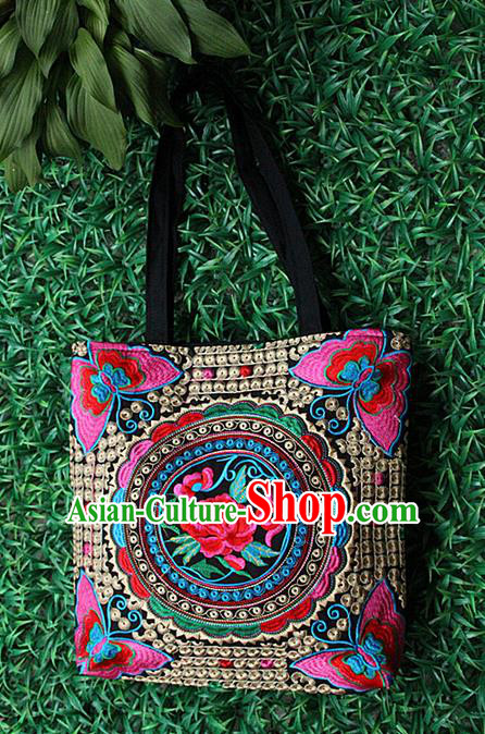 Traditional Chinese Miao Nationality Palace Handmade Single-Sided Embroidery Peony Handbag Hmong Handmade Embroidery Canvas Bags for Women