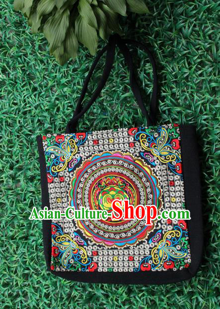 Traditional Chinese Miao Nationality Palace Handmade Single-Sided Embroidery Handbag Hmong Handmade Embroidery Canvas Single Shoulder Bags for Women