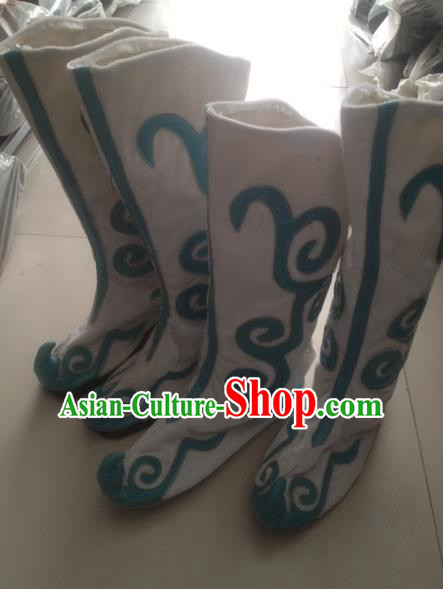 Traditional Chinese Minority Mongol Nationality Ethnic Minorities Mongolian Dance Boots, Mongolian Cloud Boots Knee Boots Handmade Jockey Boots Tanks Boots for Men