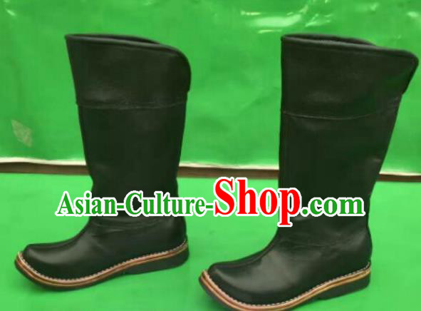 Traditional Chinese Minority Mongol Nationality Ethnic Minorities Mongolian Dance Cowhide Boots Mongolian Knee Boots Jockey Boots Tanks Boots for Men