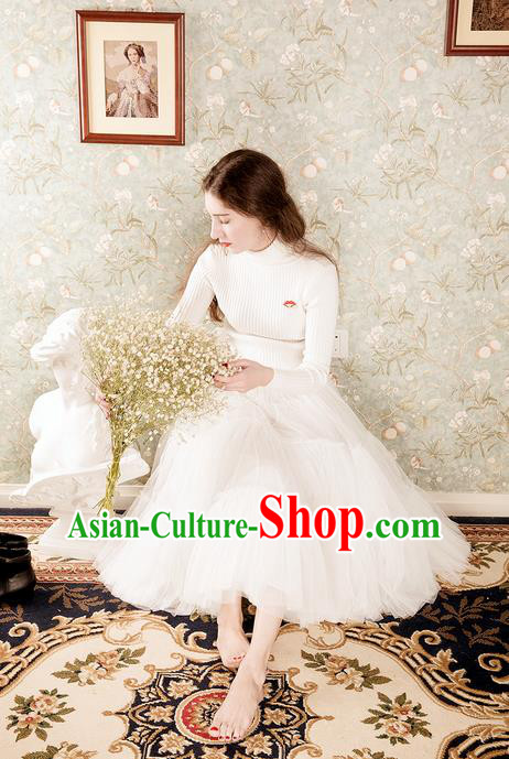 Traditional Classic Women Clothing, Traditional Classic Rabbit Wool Turtleneck Base sweater