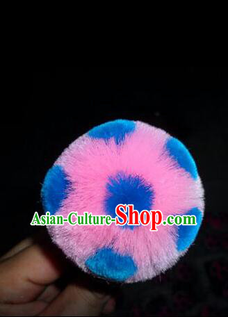 Peking Opera Head Wear Pompoms Accessories Pendant 6.5cm Pink Ball with Blue Dot