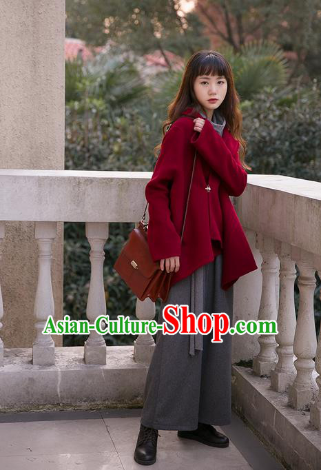 Traditional Classic Women Clothing, Traditional Classic Red Pure Woolen Tweed Jacket Wool Coats