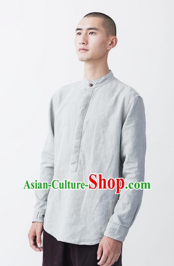4312c690007 Traditional Chinese Linen Tang Suit Men Costumes, Chinese Ancient Tunic Suit  Long Sleeved Shirt for Men
