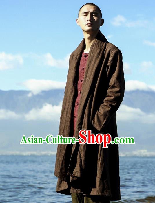Traditional Chinese Linen Tang Suit Men Costumes Dust Coat, Chinese Ancient Linen Double Collar Men Hanfu, Linen Long Coat for Men