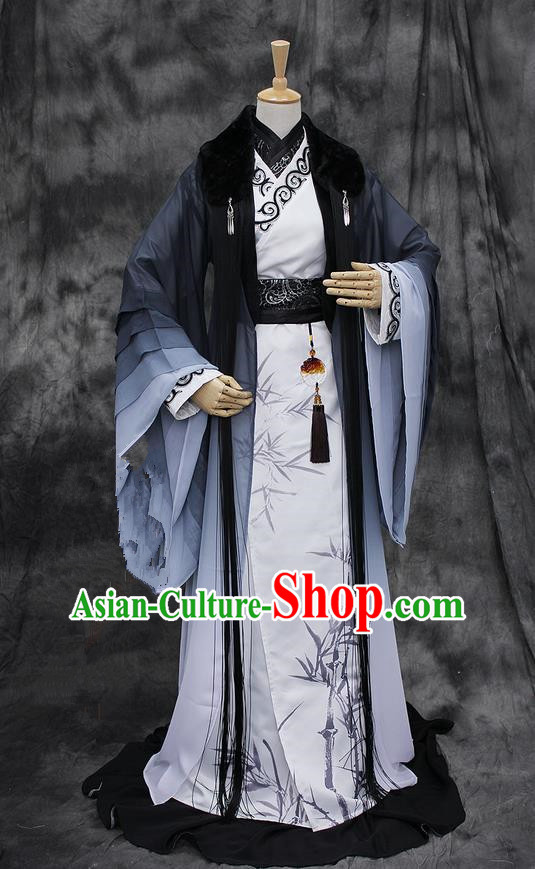 Chinese Ancient Cosplay Costumes, Chinese Traditional Embroidered Royal Prince Clothes, Ancient Chinese Cosplay Swordsman Knight Costume Complete Set for Men