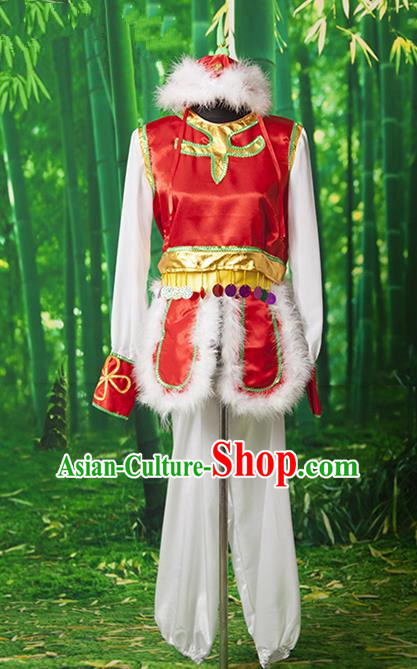 Traditional Chinese Mongol Nationality Dancing Costume, Mongols Female Folk Dance Embroidery Clothing for Women