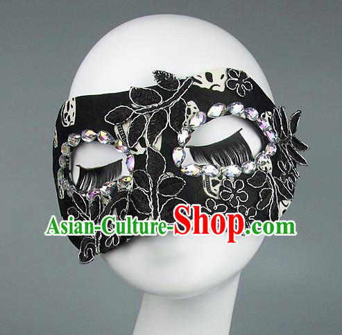 Top Grade Handmade Exaggerate Fancy Ball Model Show Black Lace Mask, Halloween Ceremonial Occasions Face Mask