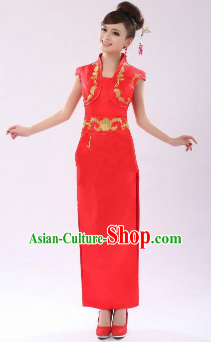 Traditional Chinese National Costume Red Wedding Qipao China