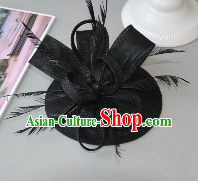 Top Grade Handmade Wedding Hair Accessories Black Feather Headwear, Baroque Style Bride Hair Stick for Women