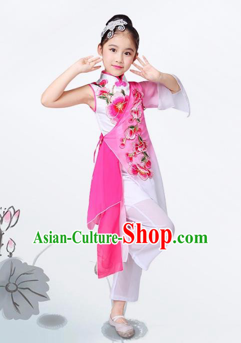 Traditional Chinese Classical Yangge Fan Dance Costume, Children Folk Dance Uniform Yangko Pink Clothing for Kids