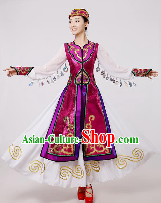 Traditional Chinese Mongol Nationality Dance Costume, Mongols Folk Dance Ethnic Pleated Skirt Mongolian Minority Embroidery Clothing for Women