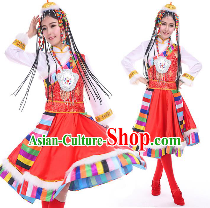 Traditional Chinese Mongol Nationality Dance Costume, Mongols Dance Ethnic Pleated Skirt Mongolian Minority Embroidery Clothing for Women