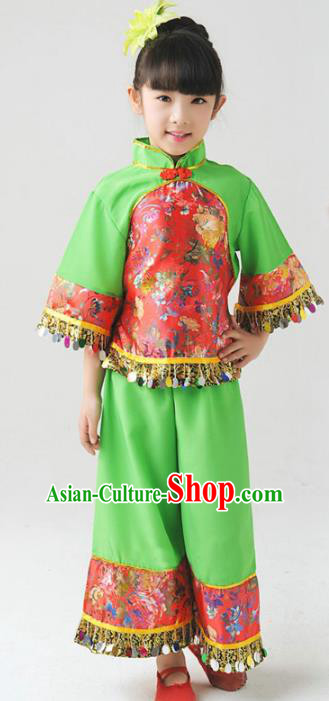 Traditional Chinese Classical Yangge Dance Embroidered Costume, Folk Dance Uniform Drum Dance Green Clothing for Kids
