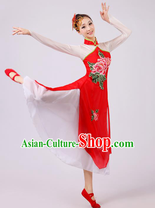 Traditional Chinese Umbrella Dance Red Embroidered Costume, Folk Dance Uniform Classical Dance Dress Clothing for Women