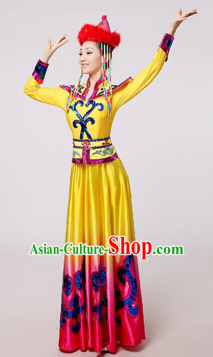 Traditional Chinese Mongol Nationality Dance Costume Yellow Mongolian Robe, China Minority Embroidery Dress Clothing for Women