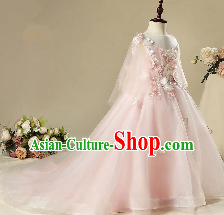 Children Modern Dance Costume Pink Trailing Dress, Ceremonial Occasions Model Show Princess Veil Full Dress for Girls