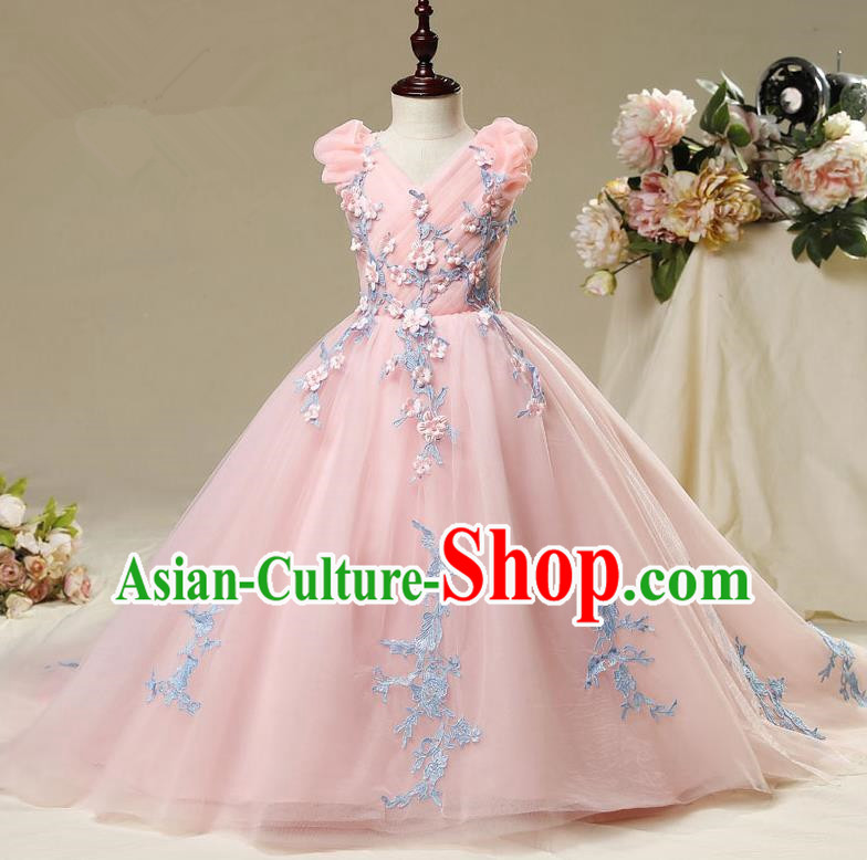Children Modern Dance Costume Embroidery Pink Trailing Dress, Ceremonial Occasions Model Show Princess Veil Full Dress for Girls