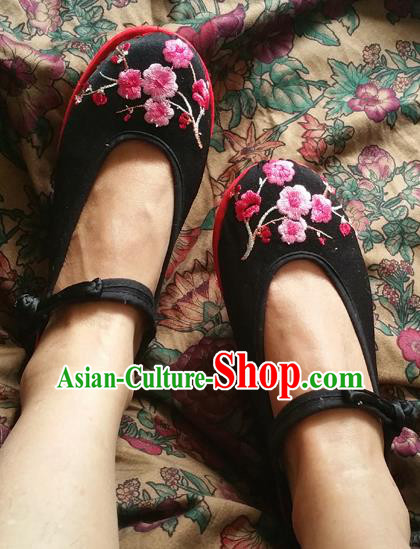 Asian Chinese National Martial Arts Black Shoes Handmade Embroidered Shoes, Traditional China Princess Shoes Hanfu Shoe for Women