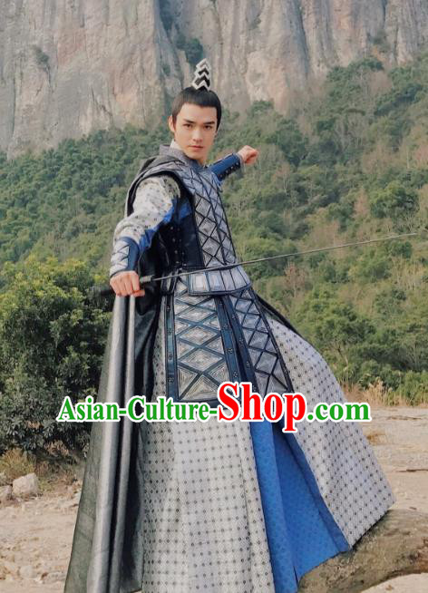 Asian China Northern and Southern Dynasties General Helmet and Armour Costume Complete Set for Men